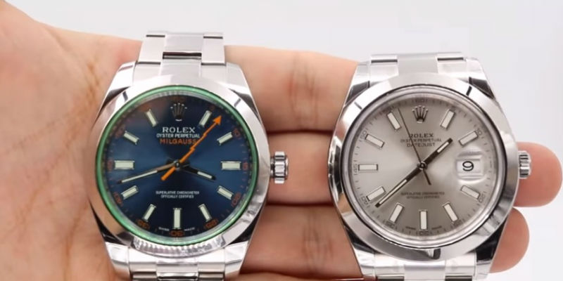 Rolex Milgauss and Datejust II comparison