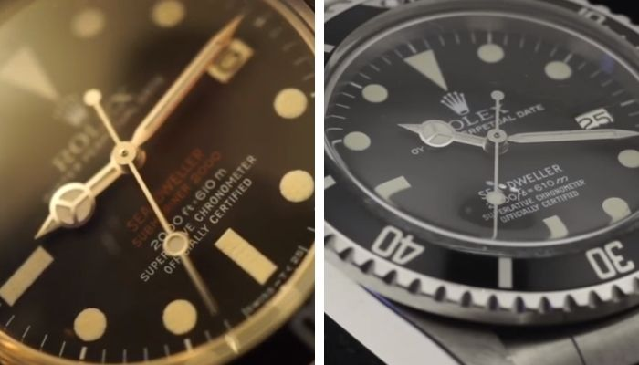 sea-dweller reference 1665: tritium dial vs rail dial